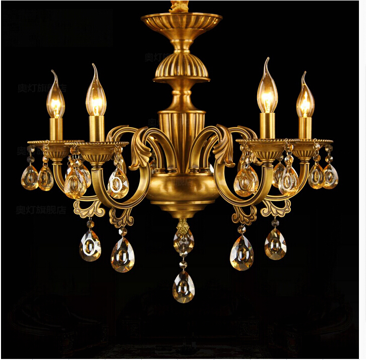 free shipping indoor decoration modern brass chandeliers with k9 crystals e14 led 6 lights for living - Brass Chandelier