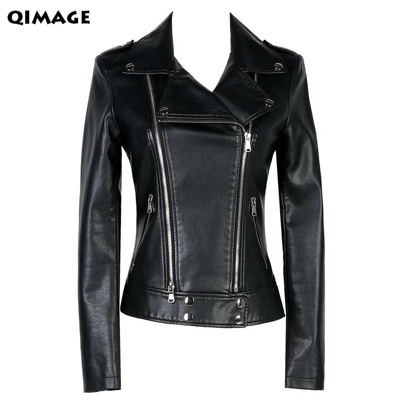 QIMAGE Plus Velikost M-4XL Móda 2017 Podzim Zima Dámská kožená bunda Dámská štíhlá krátká kožená bunda Dámská svrchní oděv