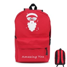 MeanCat Father Christmas Santa Claus Shoulder Backpack in Red Oxford Sisha Present Gifts Decoration