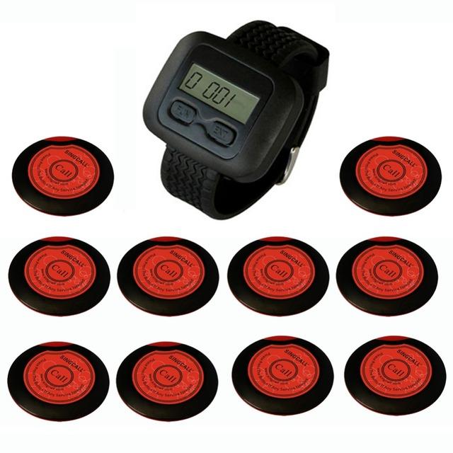 Sistema singcall sem fio do hotel serviço de banco, fina one-botão pager, 10 pagers e 1 pc Receptor Relógio