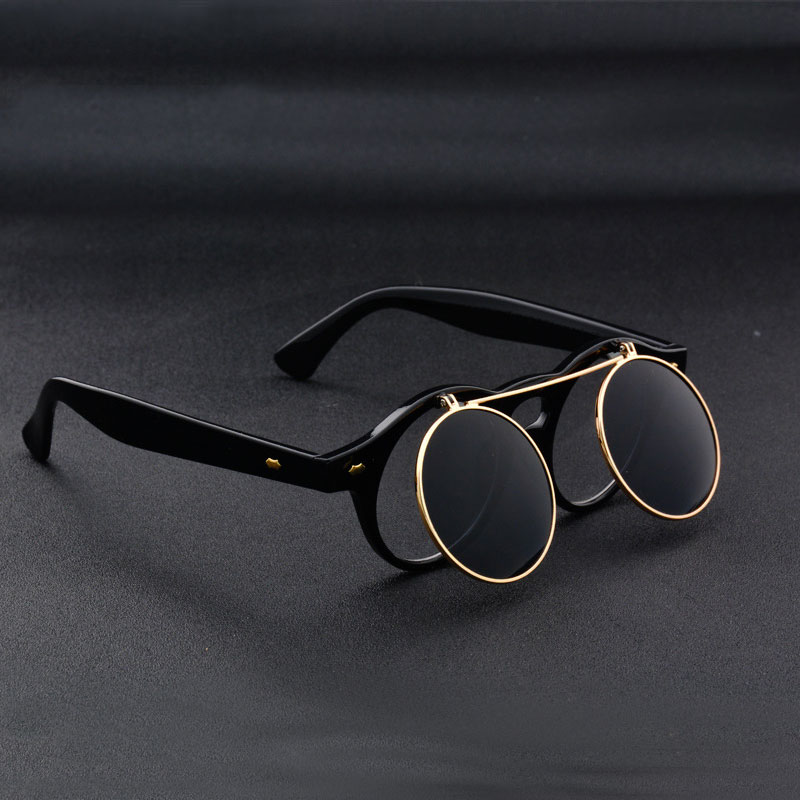 Coodaysuft Steampunk Sunglasses Goggles Men Round Sunglasses Opened Steam Punk Metal Sun glasses Circle Women Clop On