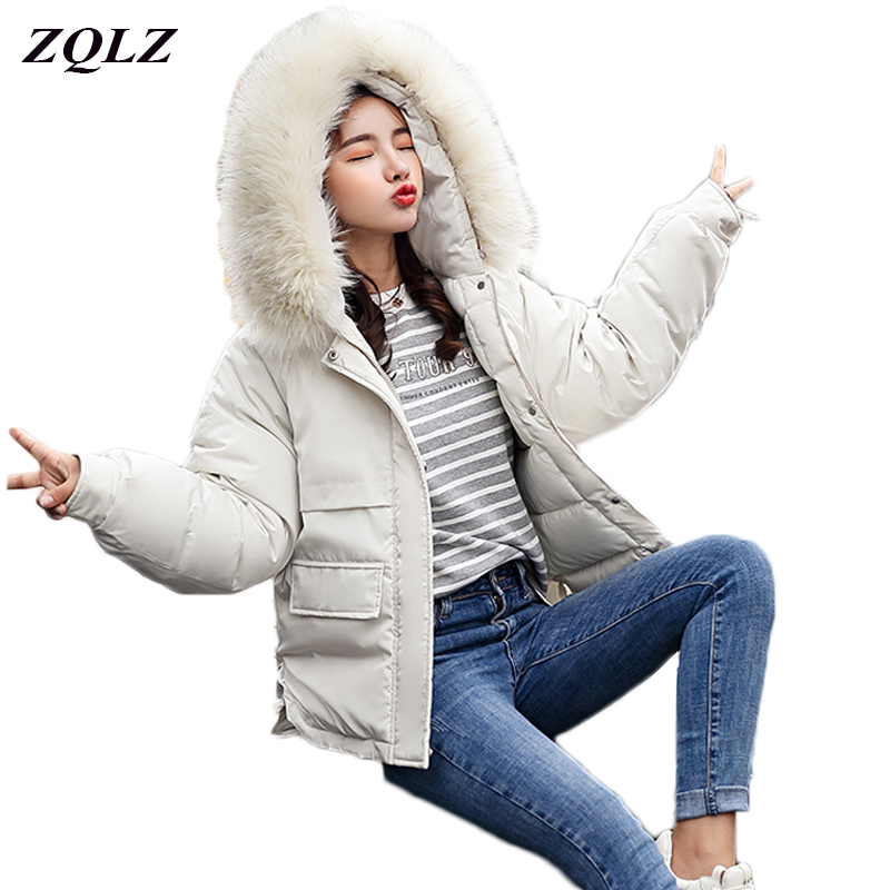 Zqlz 2018 Winter Down Jacket Women Fur Collar Hooded   Parka   Mujer Plus Size Loose Black Padded Jacket Cotton Wadded Female Coat
