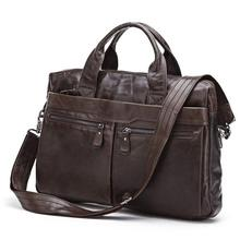 Vintage Casual Men Messenger Bags Cowhide Genuine Leather Bags Briefcase Business High Quality Shoulder Bag Handbags #MD-J7122