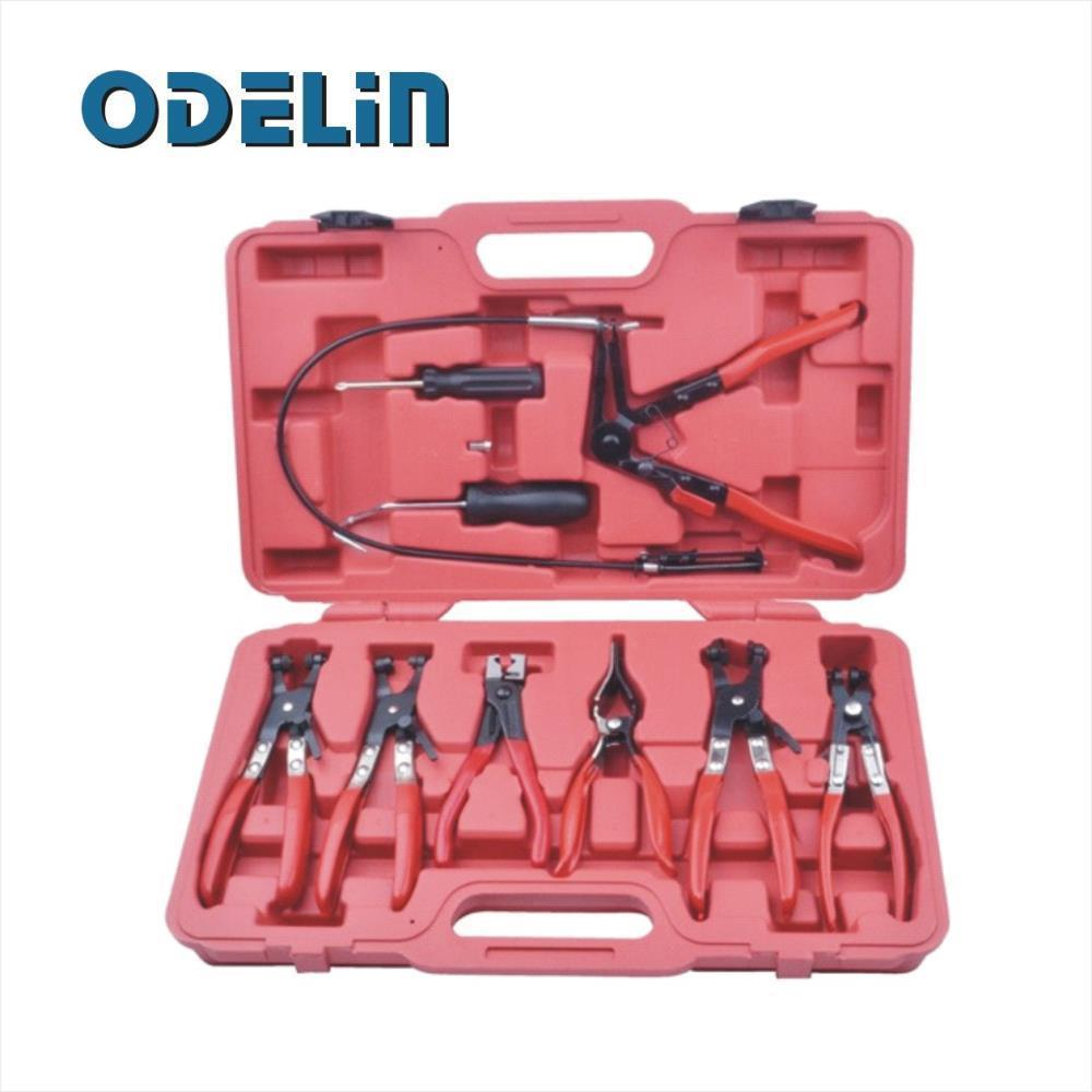 9 PC Hose Clamp Ring Plier Set Flexible Cable Plier Mechanic Auto Tool quality 9 in 1 flexible hose clamp plier kit pliers tool set with case auto vehicle tools cable wire long reach car repair tools