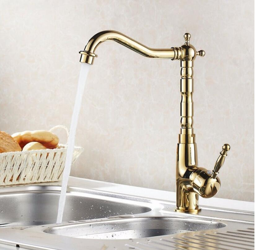 Fashion brass kitchen faucet hot and cold single lever kitchen sink faucet tap gold swivel bathroom sink faucet sink tap fashion brass chrome hot and cold single lever hot and cold kitchen sink faucet