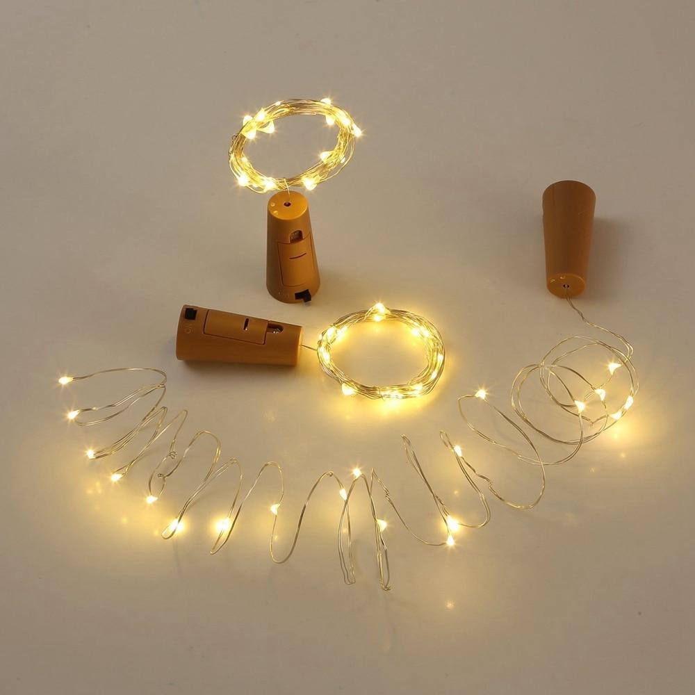 1 lot 9 pcs 9 colors Wine Bottle Lights Silver Wire String Light Batteries For Wedding Decoration Christmas decoration light
