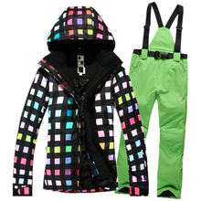 Free Shipping High Quality Women Ski Jacket+pants Snowboarding Colorful Warm Waterproof Windproof Skiing Clothes ski suit