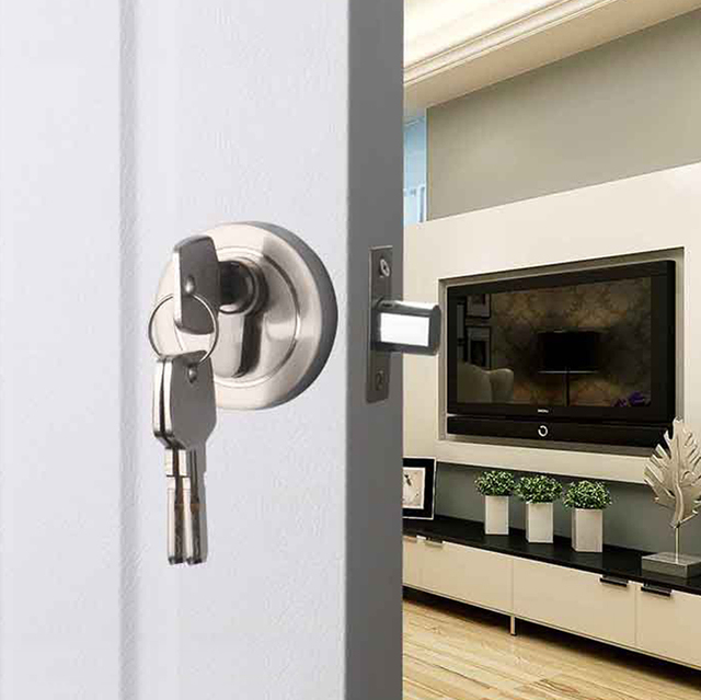 US $19 91 25% OFF Lockcase Hardware Key Lock Chamber Door Contact Stainless  Steel Double Single Circular Ring Lock Wall-in Door Handles from Home