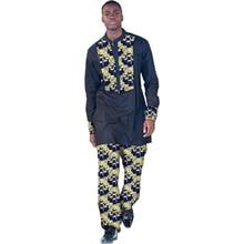 الأفريقية طباعة ملابس الرجال قمم + بنطلون مجموعة القمصان والسروال زي احتفالي أفريقيا نمط الرجال الأزياء والملابس تخصيص