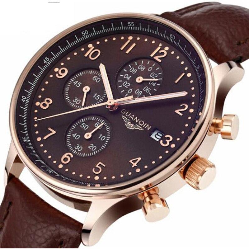 Роскошные Для мужчин часы кварцевые Военные Наручные часы бренд GUANQIN час Дата часы мужские кожаные хронограф модные спортивные часы
