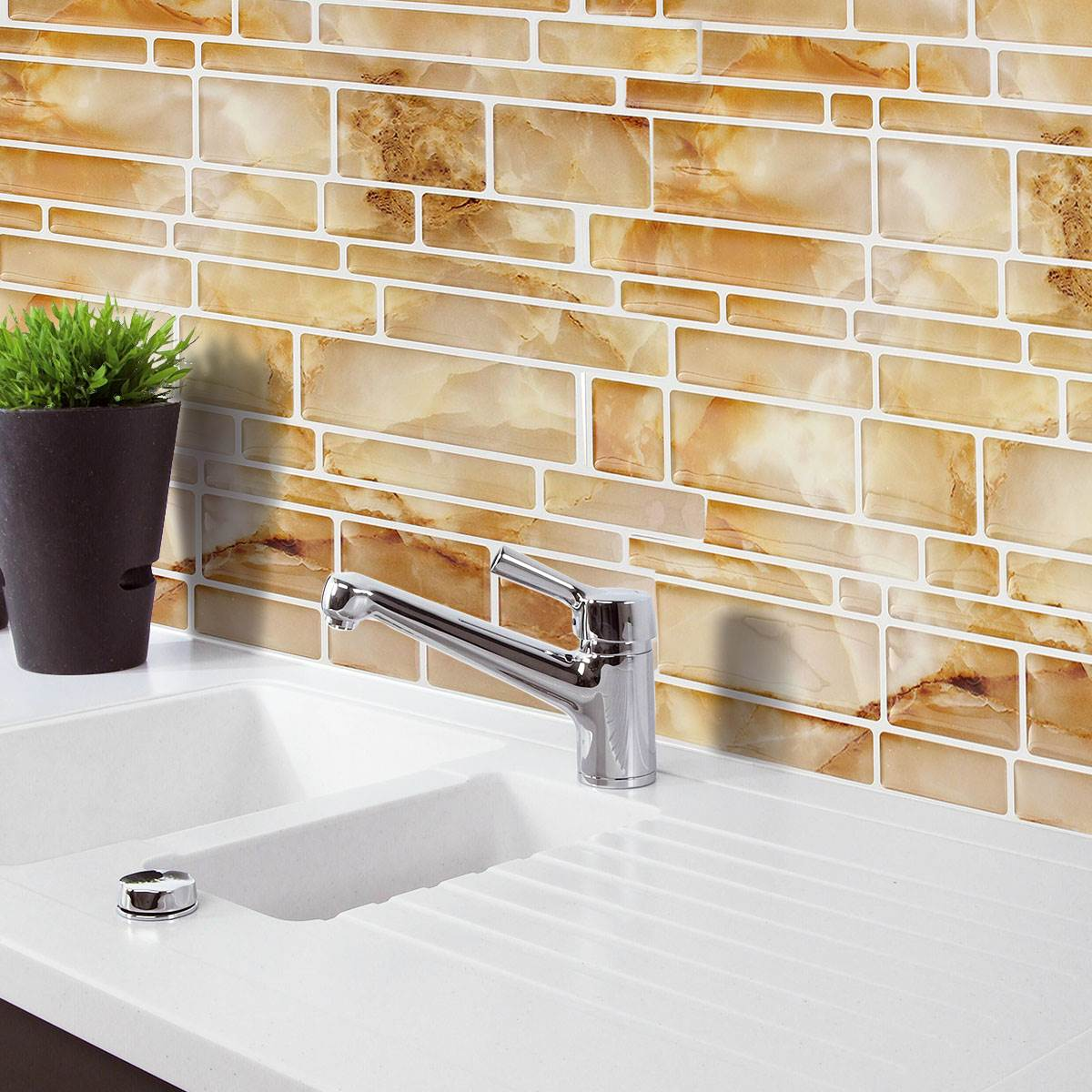 Best Kitchen Gallery: Yellow Imitation Marble Home Decor Brick Tile Kitchen Bathroom Foil of Foil Kitchen Tile on rachelxblog.com