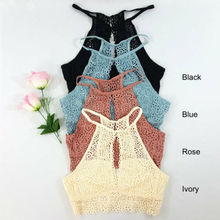 Womens Crop Top Floral Harness V-Neck Vest Hollow Bralet Lace Camisole Tank Tops