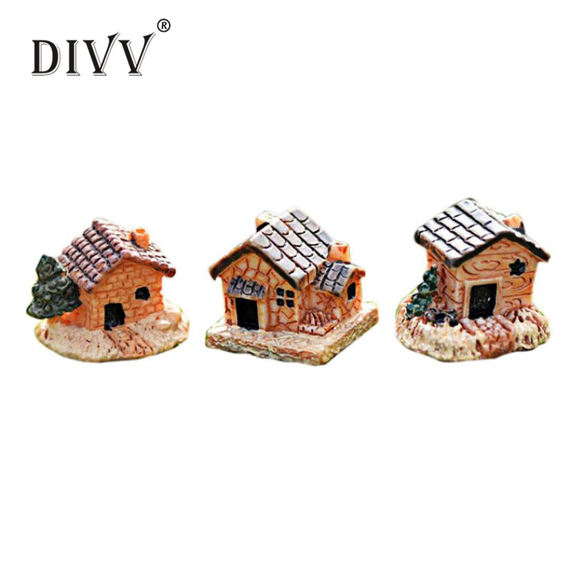 Fashion Mini Dollhouse Stone House Cottage Resin Decorations For Home And GardenDIY Mini Craft Cottage Landscape Decorationmay31