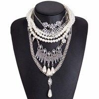 Multi Layer Necklace Women Big Fashion Necklace Pendants Simulated Pearl Necklace Maxi Jewelry Wholesale Collier Bijoux