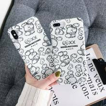 IMIDO The Black Water Pasting PC Case New Anti-fall Fashion Phone For iphone 6/7/8/X /Xs/ Xsmax/Xr Cute Simple Cartoon