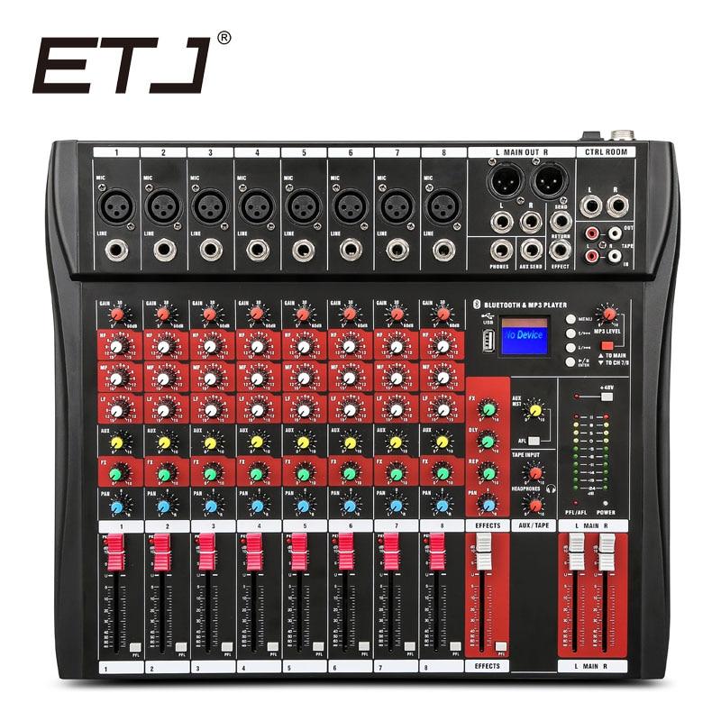 ET 8 USB 8 Channels Mixing Console Equipment Professional Audio DJ Mixer stage audio mixer karaoke mixer mixing