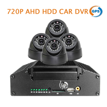 Free Ship H.264 I/O HDD 4CH 720P AHD GPS G-sensor Car DVR Recorder Night Vision Dome Car Camera Kit Video Playback for Bus Truck