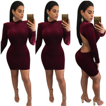 Femmes Sexy De Mode Soild Manches Longues Dos Nu Moulante Bandage Dress Mujer Femme Robe Party Night Club Dress 6 Couleurs