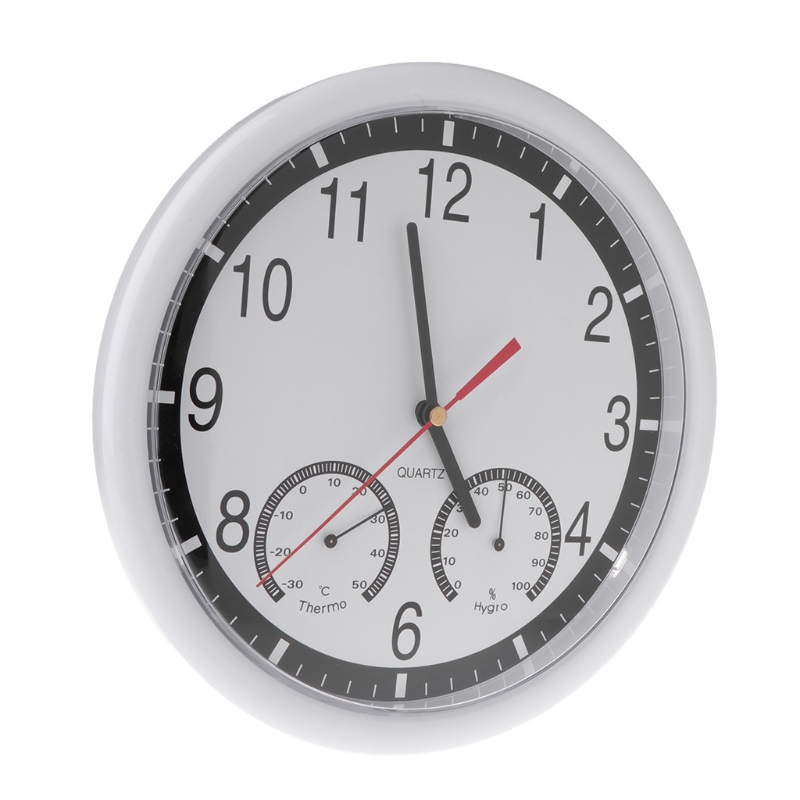 """10"""" Silent Wall Clock Decorative Thermometer & Humidity Meter Non-ticking"""