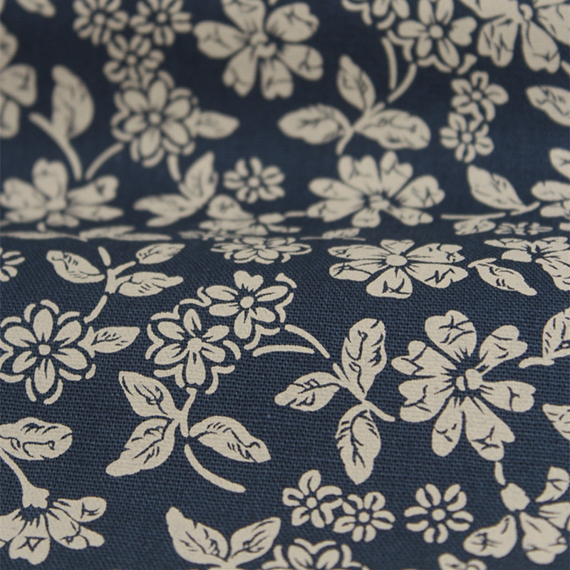 Japan Style Cotton Linen Fabric Vintage Blue DIY Fabric for Table ...