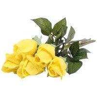 11 stks Verse rose Kunstbloemen Home decorations voor Wedding Party 45 cm geel