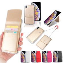 For iPhone X XR XS MAX Detachable Card Bag Folio 2 in 1 Leather Cell Phone For iPhone 7 7 Plus  8 Plus Cases Luxury Kickstand