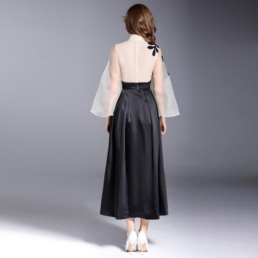 Larga Cordón Mujer Bordado Largo Patchwork Organza Vestido Runway De Moda Cuello Vintage Manga Primavera Vestidos 2018 PE1cqEy