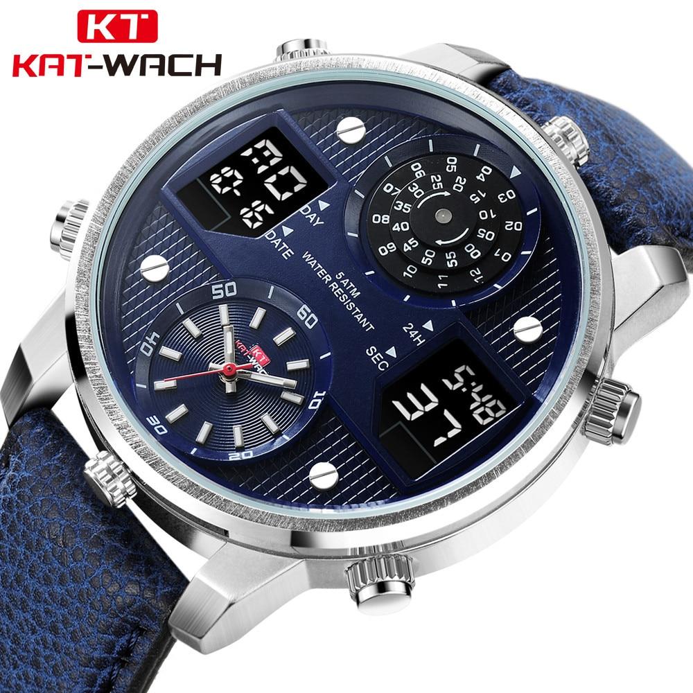 KAT-WACH Top Brand Men's Fashion Sport Watches Men Leather Waterproof Analog Quartz Wrist Watch Male Luminous Chronograph Clock все цены