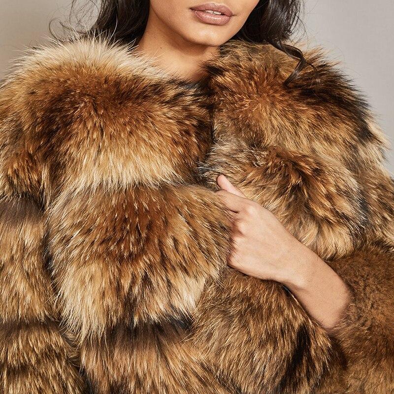 2018 Crop Femmes Manteau Nouveau Outwear Design Style Réel Hiver Chaud Raton Grand Naturel Rangées Laveur De Fourrure Populaire Britannique 6w5qPIFP