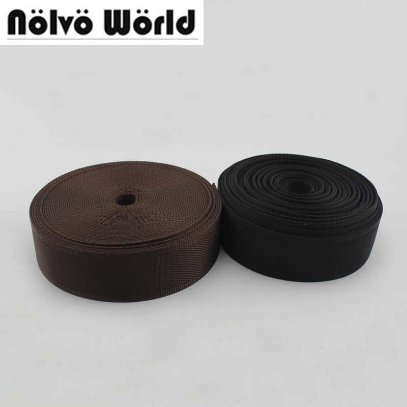 50yards 32mm 38mm wide black brown color Eco-Friendly nylon ribbon for DIY camera strap,sewing man shoulder bags strap