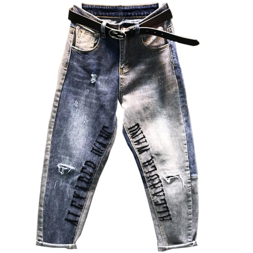 2019 spring new fashion stitching   jeans   women loose feet holes harem pants letters embroidery