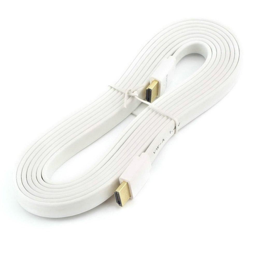 5 pcs 3 m Blanc Premium Plat de Nouilles Câble HDMI Haute Vitesse Pour HDMI 3D DVD HDTV