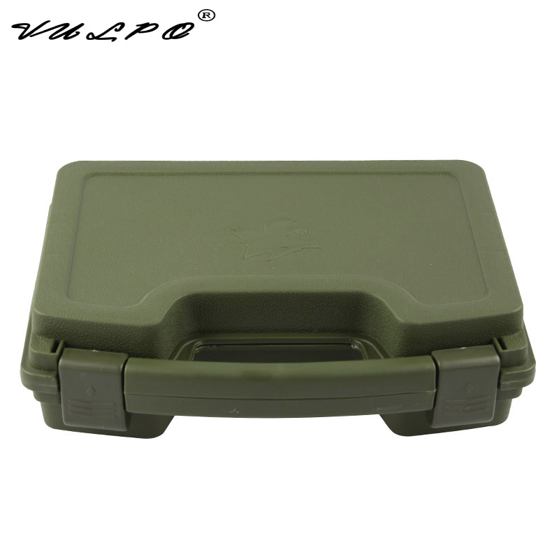 VULPO ABS Plastic Box Pistol Case Tactical Hard Pistol Case Gun Case Padded Terms Lining (green)