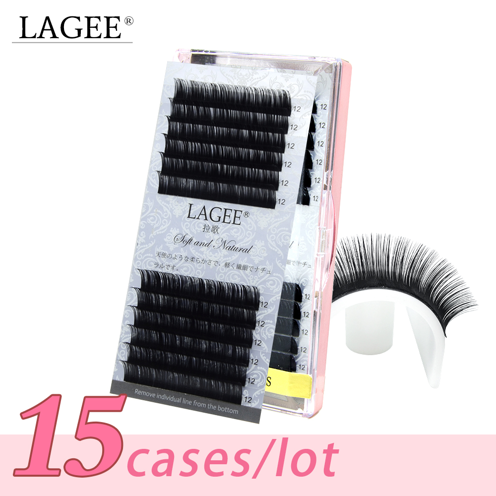 15 cases lot CC Curl Cilia natural individual eyelash extensions make up tools faux premium mink