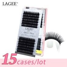 15 caixas/lote cc curl cílios naturais individuais extensões de cílios compõem ferramentas falso premium vison cílios postiços caixa luxuosa