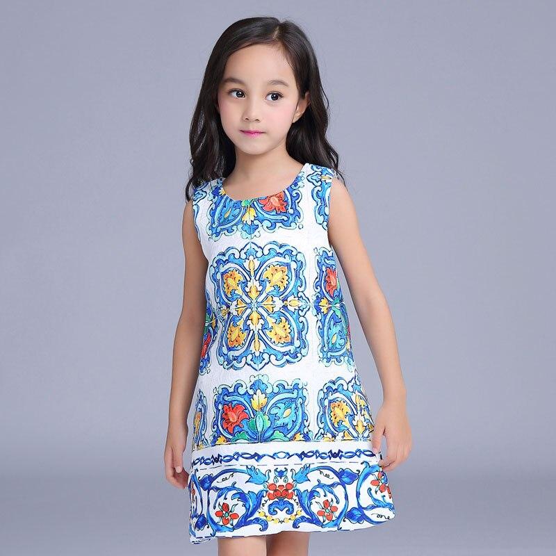 ФОТО 2016 New chinese style kids costume for girls 2-9T print pattern summer girls dresses fashion sleeveless straight girls