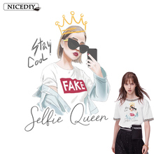 Nicediy Fashion Girl Stickers Patch Iron On Transfers For Clothes Tshirt Hoodies Denim Jacket Thermal Patches Applique