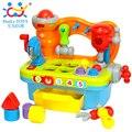 Banco de trabajo de plástico bebé niños pretend play tool set eléctrico herramienta de juguete con música y luz pretend play toys para niños