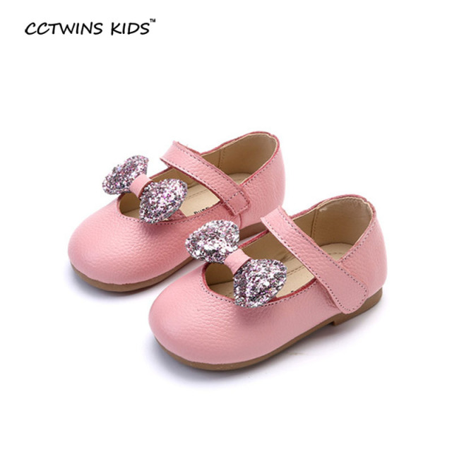 CCTWINS KIDS spring autumn toddler brand bow shoe for children genuine leather mary jane baby girl dance glitter flats white