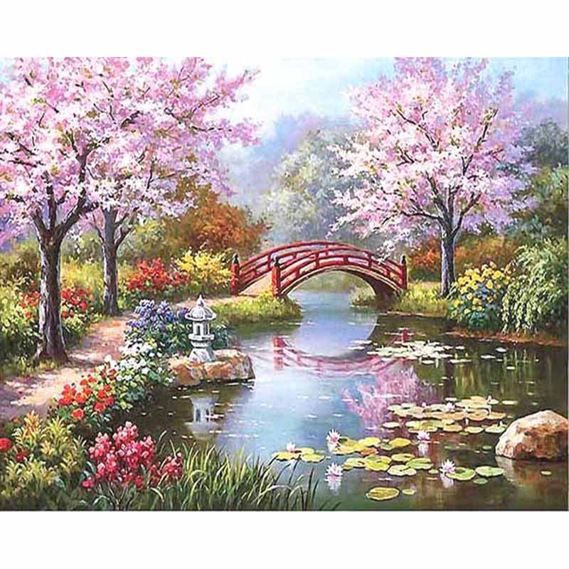 Flores de Cerejeira Paisagem Frameless DIY Digital Pintura Por Números Acrílico Original do Presente Imagem Pintado À Mão Pintura A Óleo 40x50