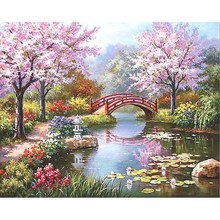 Frameless Cherry Blossoms Landscape DIY Digital Painting By Numbers Unique Gift Acrylic Picture Hand Painted Oil 40x50