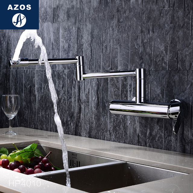 Bathroom Sink Faucets Folding Free Rotatable Hose Spray Single Side Handle Chrome Polish Solid Brass Wall Mount Hot Cold CLMP016