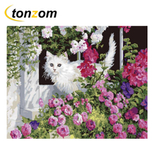 цена RIHE Cute Cat With Grassland Diy Painting By Numbers Flowering Shrubs Painting On Canvas Cuadros Decoracion Acrylic Wall 2018