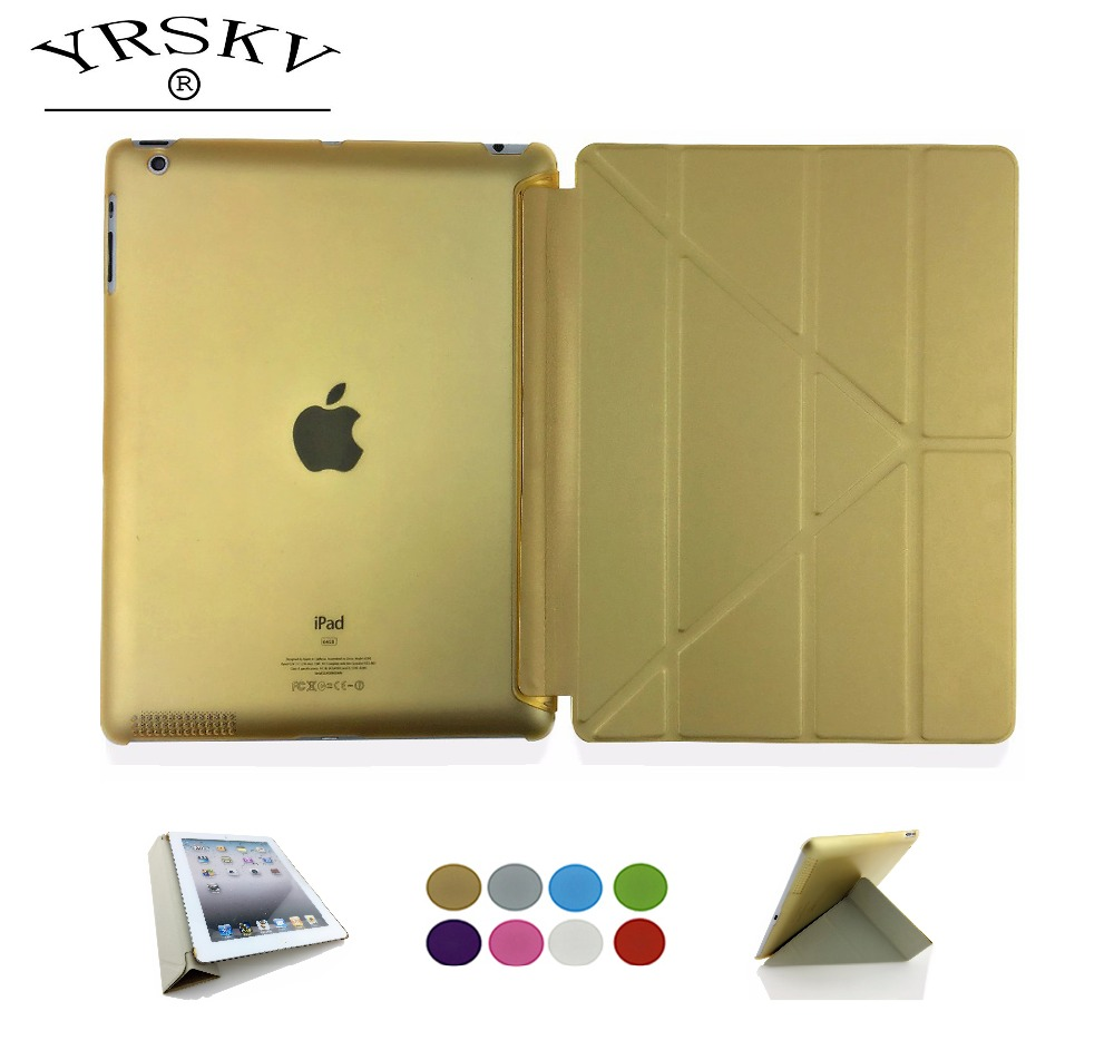 Case for iPad 2 iPad 3 iPad 4 YRSKV Deformation folding PU Leather Slim Magnetic Front Smart Cover Skin+Hard PC Back Tablet Case for ipad mini4 cover high quality soft tpu rubber back case for ipad mini 4 silicone back cover semi transparent case shell skin