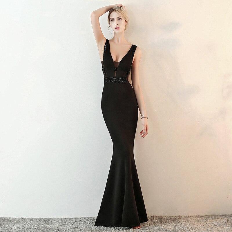 Noir voir à travers maille et coton col en V profond sans manches dos nu longue Sexy soirée Clubwear robe robes de sirène pour les femmes