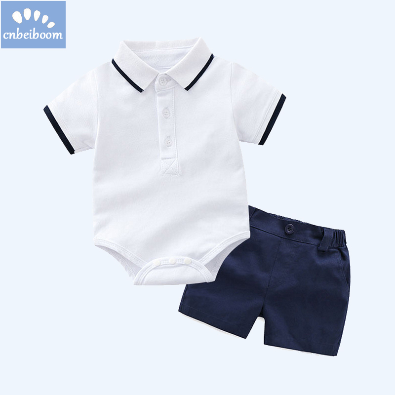 Baby boy rompers short clothing sets 2018 new polo T shirt + shorts white black color for infant newborn kids birthday clothes цена