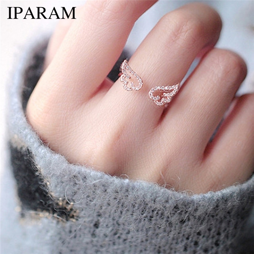 IPARAM Adjustable Angel Wings Ring Micro Pave Zircon Gold-Color Rings For Women Fashion rings Jewelry bague femme Female Gifts