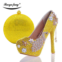 New arrival Womens wedding shoes with matching bags Yellow crystal Rhinestone wedding shoes Bride Bridesmaid party dress shoes
