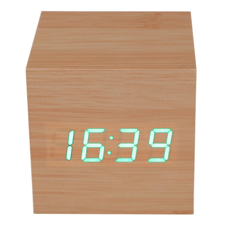 Cube Wooden LED Alarm Clock LED Display Electronic Desktop Digital Table Clocks Wooden Digital Alarm Clock USB/AAA Powered