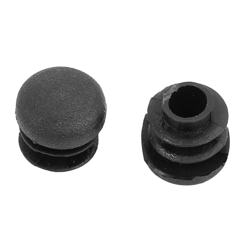 UXCELL 30pcs Plastic Round Ribbed Tube Inserts End Blanking Caps Black 14mm Diameter